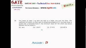 solutions to gate 2005 mechanical engineering me total 85