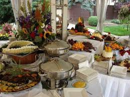 oudoor thanksgiving buffet table in white entertaining