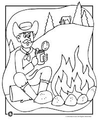 campfire cowboy coloring page animal jr