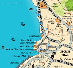 Map Of Southern Caribbean by Map Of George Town Downtown Restaurants Grand Cayman Cayman Islands
