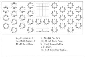 Wedding Seat Chart Template 40 X 100 Pole Tent Seating Arrangement