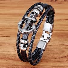 fashion charm leather bracelet images 2018 fashion charm leather anchor men 39 s bracelets stainless steel jpg