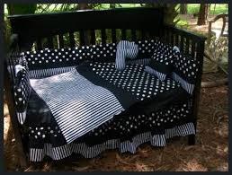 Black And White Crib Bedding Set Black White Polka Dot And Stripe Crib Bedding Set