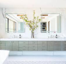 Polished Nickel Vanity Mirror White Dual Sink Vanity With Polished Nickel Mirrors Transitional
