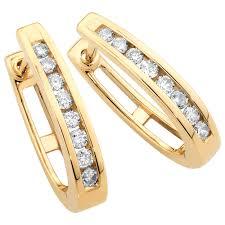 1 4 carat diamond earrings hoop earrings with 1 4 carat tw of diamonds in 10kt yellow gold