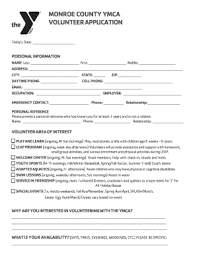 monroe county ymca volunteer application fill online printable