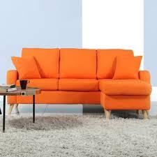 orange leather sectional sofa orange sectional sofas you ll love wayfair