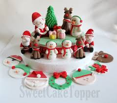Home Made Cake Decorations by Christmas Fondant Cake Topper Set Homemade Edible Cake Topper