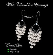 White Chandelier Earrings Second Life Marketplace White Chandelier Earrings