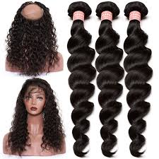 short hairstyles with closures 360 lace frontal closure with 3 bundles loose wave brazilian virgin