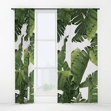 Tropical Curtain Panels Green Window Curtains Banana Leaf Curtain Panels Tropical