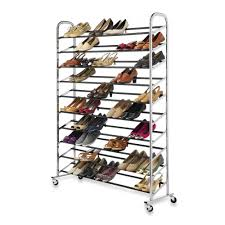 Bed Bath And Beyond Bathroom Shelves by 60 Pair Rolling Shoe Rack In Chrome Bed Bath U0026 Beyond