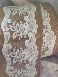 burlap and lace ribbon combination of burlap and lace ribbon and beige 2 5 in