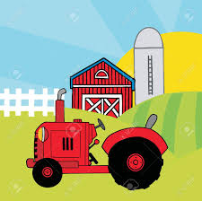 A Cartoon Barn Red Farm Tractor In A Pasture Near A Barn And Silo Royalty Free