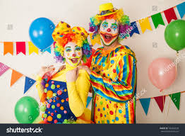 two cheerful clowns birthday children bright stock photo royalty two cheerful clowns birthday children bright stock photo 742263520