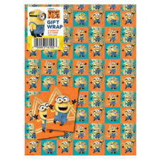 minion wrapping paper despicable me 3 wrapping paper gift wrap 2 sheets 49cm x 70cm