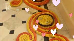 Flower Decoration At Home Diwali Special Flower Rangoli U0026 Decoration At Home Youtube