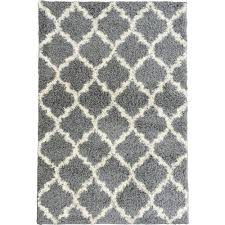 Grey Area Rug Ottomanson Ultimate Shaggy Contemporary Moroccan Trellis Design