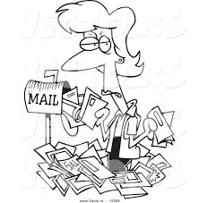 vector of a cartoon woman overwhelmed with junk mail coloring