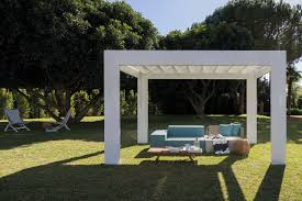 pergola shelter color white with sliding waterproof cover unopiù