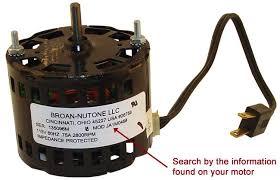 broan nutone replacement fan motor kits broan nutone fan motors