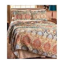 Moroccan Coverlet King Size 3 Piece Quilt Comforter Shams Bedding Set Paisley