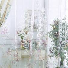 Blue And White Floral Curtains American Country Style Jacquard Material Floral Curtains