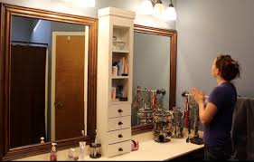 bathroom mirrors with storage ideas bathroom mirror makeover framing a mirror and adding storage