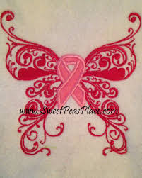 butterfly cancer ribbon applique embroidery design embroidery