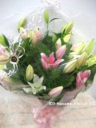 Asian Lilies Hand003 Special Mixed Large Asian Lilies Bouquet In Cello