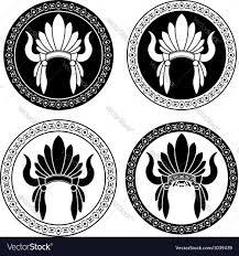 Mexican Flag Stencil Native American Indian Headdress Stencils Vector Image