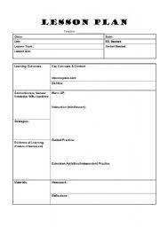 worksheet lesson plan template