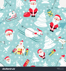 snowman christmas tree christmas seamless pattern colour flat design stock vector