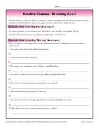 relative clauses breaking apart worksheets sentences and