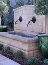 times three modern trough wall fountain garden outdoors