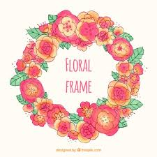 pink and orange flowers ornament vector free