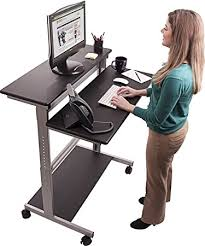 Ergonomics Computer Desk 40 Black Shelves Mobile Ergonomic Stand Up Desk