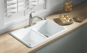 decor wooden countertops and kohler cast iron sink with kitchen