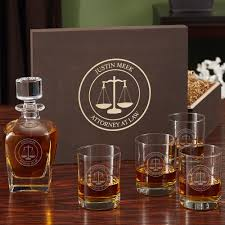 Traditional Housewarming Gifts by Scales Of Justice Custom Whiskey Glass And Decanter Set With Gift