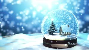 snow globe snowflake with snowfall on blue background