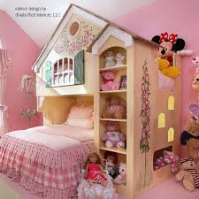 house inspired loft bunk bed design for kid with stuffed doll