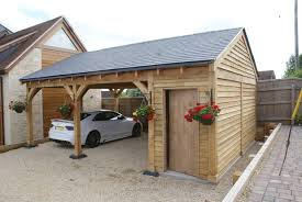Carport Garage Plans Oak Double Bay Garage With Side Store Decorating Ideas