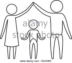 sketch silhouette of pictogram parents holding hands up and