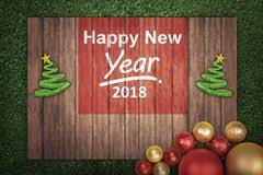 Board Decoration On Happy New Year by Merry Christmas Happy New Year 2018 Decoration Stock Photos
