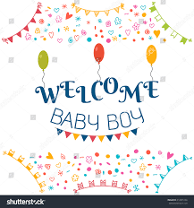 welcome baby boy baby shower greeting stock vector 414895156