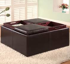extraordinary brown leather storage ottoman with tray 28 with