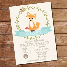 fox baby shower invitation for a boy or unisex baby shower