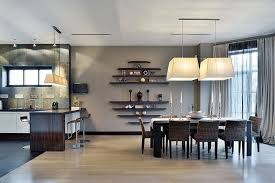 Ultra Modern Home With Gray Dining Set Area And Modern Kitchen - Dining room wall shelves