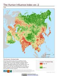Asia Geography Map by Maps Last Of The Wild V2 Sedac
