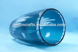 Colored Crystal Vases Blue Colored Bohemian Czech Cut To Clear Round Crystal Glass Vase